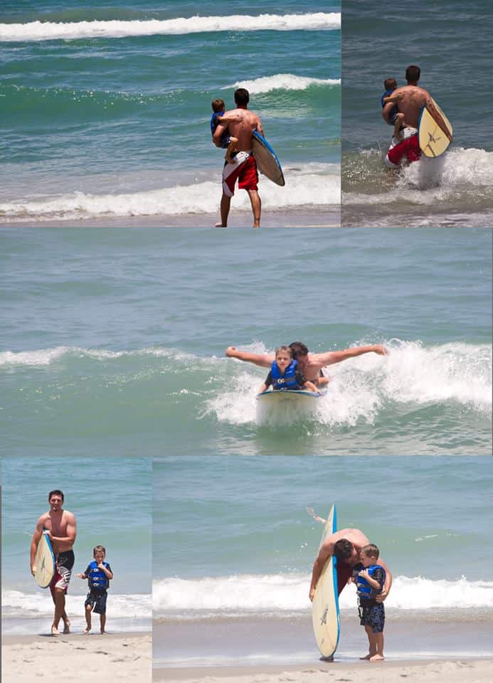 Surf lessons with daddy