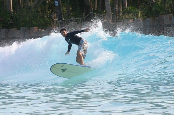 Surfing in a wave pool - Cool!